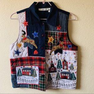 Vintage Christmas patchwork vest